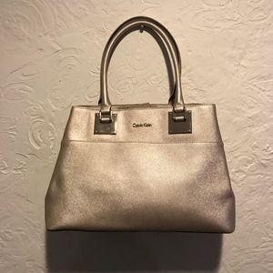 Calvin Klein Gold Saffiano Leather Tote